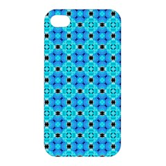 Vibrant Modern Abstract Lattice Aqua Blue Quilt Apple Iphone 4/4s Hardshell Case by DianeClancy