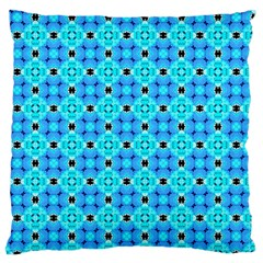Vibrant Modern Abstract Lattice Aqua Blue Quilt Large Cushion Case (two Sides) by DianeClancy