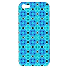 Vibrant Modern Abstract Lattice Aqua Blue Quilt Apple Iphone 5 Hardshell Case by DianeClancy