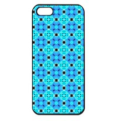 Vibrant Modern Abstract Lattice Aqua Blue Quilt Apple Iphone 5 Seamless Case (black) by DianeClancy