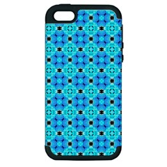 Vibrant Modern Abstract Lattice Aqua Blue Quilt Apple Iphone 5 Hardshell Case (pc+silicone) by DianeClancy