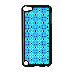 Vibrant Modern Abstract Lattice Aqua Blue Quilt Apple Ipod Touch 5 Case (black) by DianeClancy