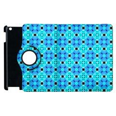 Vibrant Modern Abstract Lattice Aqua Blue Quilt Apple Ipad 2 Flip 360 Case by DianeClancy
