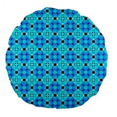 Vibrant Modern Abstract Lattice Aqua Blue Quilt Large 18  Premium Round Cushions by DianeClancy