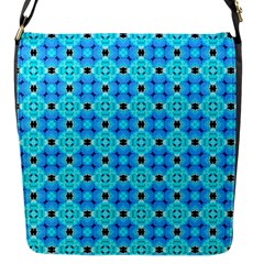 Vibrant Modern Abstract Lattice Aqua Blue Quilt Flap Messenger Bag (s) by DianeClancy