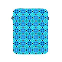 Vibrant Modern Abstract Lattice Aqua Blue Quilt Apple Ipad 2/3/4 Protective Soft Cases by DianeClancy