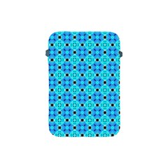 Vibrant Modern Abstract Lattice Aqua Blue Quilt Apple Ipad Mini Protective Soft Cases by DianeClancy