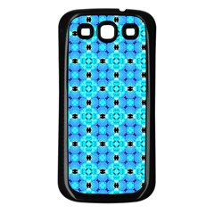 Vibrant Modern Abstract Lattice Aqua Blue Quilt Samsung Galaxy S3 Back Case (black) by DianeClancy