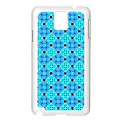 Vibrant Modern Abstract Lattice Aqua Blue Quilt Samsung Galaxy Note 3 N9005 Case (white) by DianeClancy