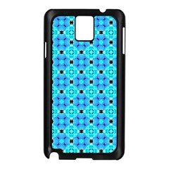 Vibrant Modern Abstract Lattice Aqua Blue Quilt Samsung Galaxy Note 3 N9005 Case (black) by DianeClancy