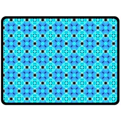 Vibrant Modern Abstract Lattice Aqua Blue Quilt Double Sided Fleece Blanket (large)  by DianeClancy