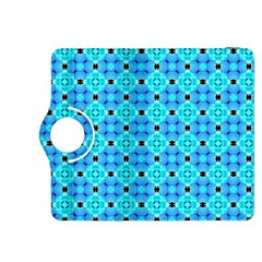 Vibrant Modern Abstract Lattice Aqua Blue Quilt Kindle Fire Hdx 8 9  Flip 360 Case by DianeClancy