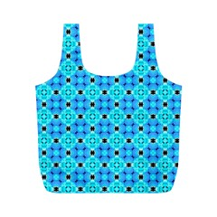 Vibrant Modern Abstract Lattice Aqua Blue Quilt Full Print Recycle Bags (m)  by DianeClancy