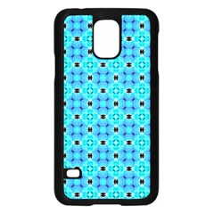 Vibrant Modern Abstract Lattice Aqua Blue Quilt Samsung Galaxy S5 Case (black) by DianeClancy