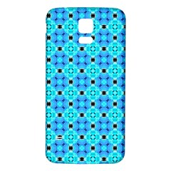 Vibrant Modern Abstract Lattice Aqua Blue Quilt Samsung Galaxy S5 Back Case (white) by DianeClancy