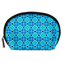 Vibrant Modern Abstract Lattice Aqua Blue Quilt Accessory Pouches (large)  by DianeClancy