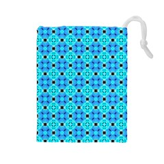 Vibrant Modern Abstract Lattice Aqua Blue Quilt Drawstring Pouches (large)  by DianeClancy