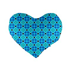 Vibrant Modern Abstract Lattice Aqua Blue Quilt Standard 16  Premium Flano Heart Shape Cushions by DianeClancy