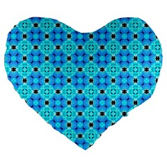 Vibrant Modern Abstract Lattice Aqua Blue Quilt Large 19  Premium Flano Heart Shape Cushions by DianeClancy