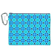 Vibrant Modern Abstract Lattice Aqua Blue Quilt Canvas Cosmetic Bag (xl)  by DianeClancy