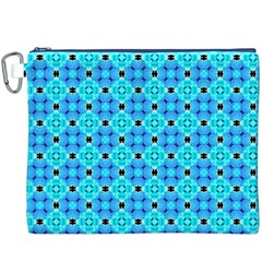 Vibrant Modern Abstract Lattice Aqua Blue Quilt Canvas Cosmetic Bag (xxxl)  by DianeClancy