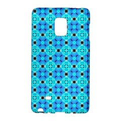 Vibrant Modern Abstract Lattice Aqua Blue Quilt Galaxy Note Edge