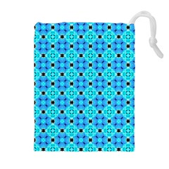 Vibrant Modern Abstract Lattice Aqua Blue Quilt Drawstring Pouches (extra Large) by DianeClancy