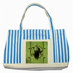 Awesome Green Skull Striped Blue Tote Bag by FantasyWorld7