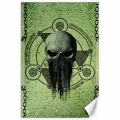 Awesome Green Skull Canvas 24  X 36  by FantasyWorld7