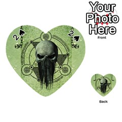 Awesome Green Skull Playing Cards 54 (heart)  by FantasyWorld7