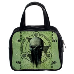 Awesome Green Skull Classic Handbags (2 Sides) by FantasyWorld7