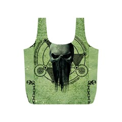 Awesome Green Skull Full Print Recycle Bags (s)  by FantasyWorld7