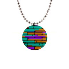 Round Corner Shapes In Retro Colors            			1  Button Necklace by LalyLauraFLM
