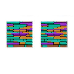 Round Corner Shapes In Retro Colors            cufflinks (square) by LalyLauraFLM
