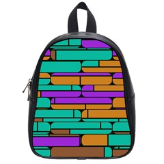 Round Corner Shapes In Retro Colors            school Bag (small) by LalyLauraFLM