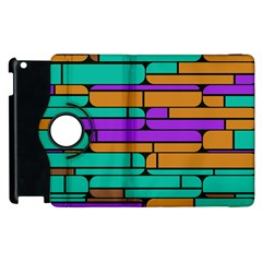 Round Corner Shapes In Retro Colors            			apple Ipad 2 Flip 360 Case by LalyLauraFLM