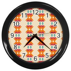 Triangles Tribal Pattern              			wall Clock (black) by LalyLauraFLM