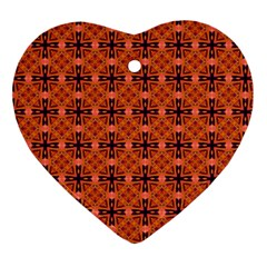 Peach Purple Abstract Moroccan Lattice Quilt Ornament (heart)  by DianeClancy