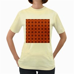 Peach Purple Abstract Moroccan Lattice Quilt Women s Yellow T Shirt by DianeClancy