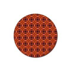 Peach Purple Abstract Moroccan Lattice Quilt Rubber Coaster (round)  by DianeClancy