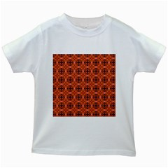 Peach Purple Abstract Moroccan Lattice Quilt Kids White T Shirts by DianeClancy