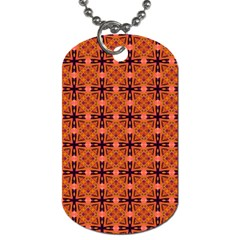 Peach Purple Abstract Moroccan Lattice Quilt Dog Tag (one Side) by DianeClancy