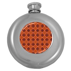 Peach Purple Abstract Moroccan Lattice Quilt Round Hip Flask (5 Oz) by DianeClancy
