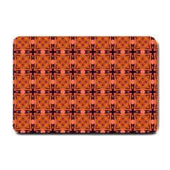 Peach Purple Abstract Moroccan Lattice Quilt Small Doormat  by DianeClancy