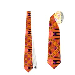 Peach Purple Abstract Moroccan Lattice Quilt Neckties (one Side)  by DianeClancy