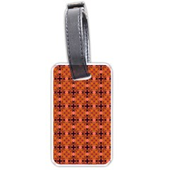 Peach Purple Abstract Moroccan Lattice Quilt Luggage Tags (one Side)  by DianeClancy
