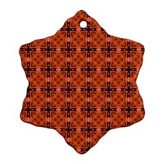 Peach Purple Abstract Moroccan Lattice Quilt Ornament (snowflake)  by DianeClancy