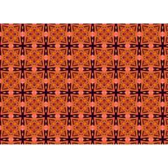 Peach Purple Abstract Moroccan Lattice Quilt Birthday Cake 3d Greeting Card (7x5)