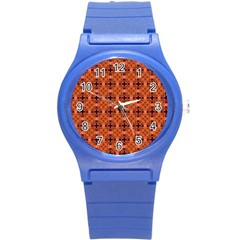 Peach Purple Abstract Moroccan Lattice Quilt Round Plastic Sport Watch (s) by DianeClancy