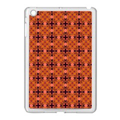 Peach Purple Abstract Moroccan Lattice Quilt Apple Ipad Mini Case (white) by DianeClancy